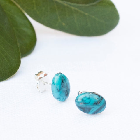 Turquoise Marble Oval Earrings