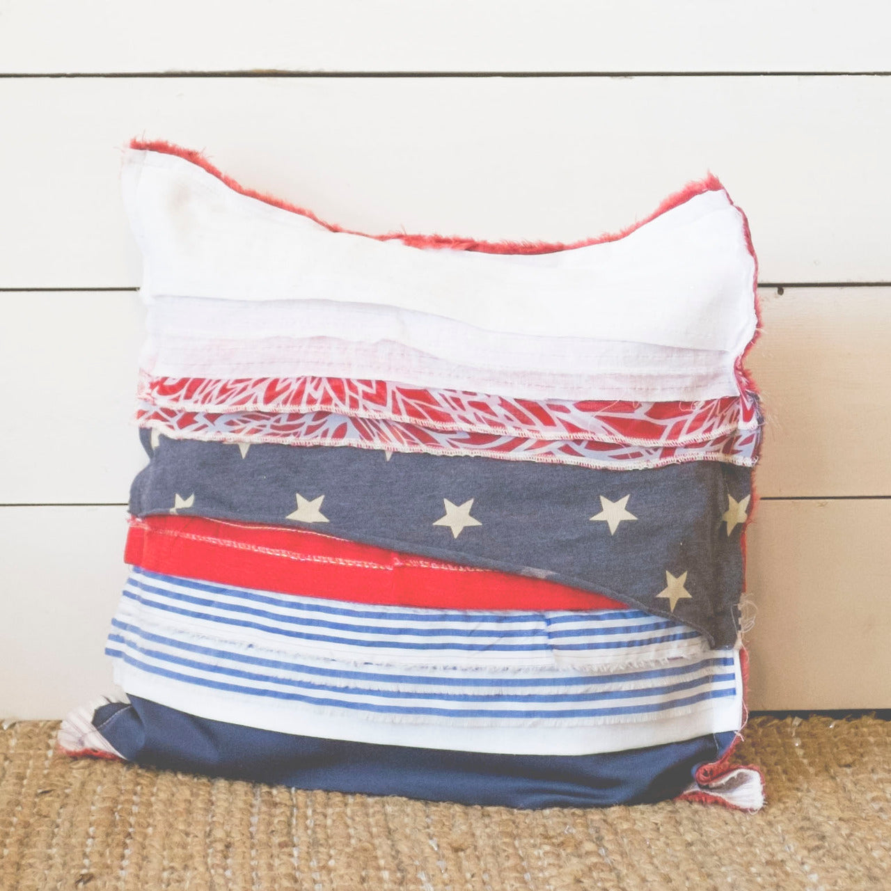 Upcycled Americana Scrap Fabric Pillow - 20x20