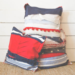 Upcycled Americana Scrap Fabric Pillow - 16 x16
