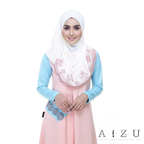 Helen Dress | HL-05 Pale Orange + Sky blue