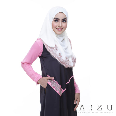 Helen Dress | HL-07  Greyish black + Shimmering pink