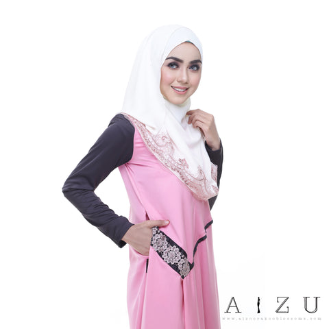 Helen Dress | HL-08 Shimmering pink +  Greyish black