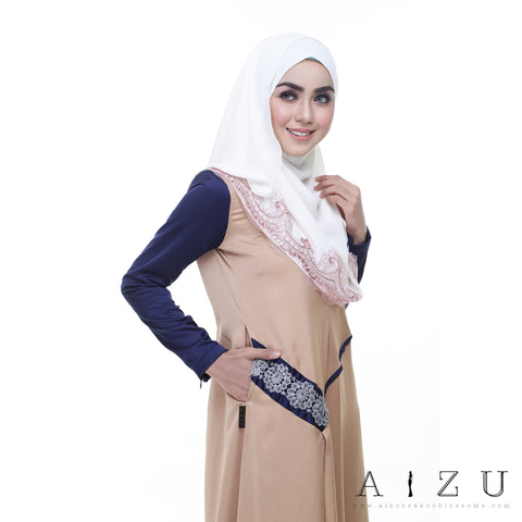 Helen Dress | HL-09 Light Brown + Navy blue