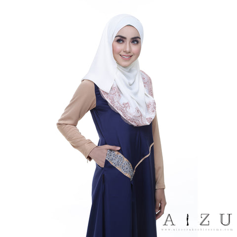 Helen Dress | HL-10 Navy blue + Light Brown