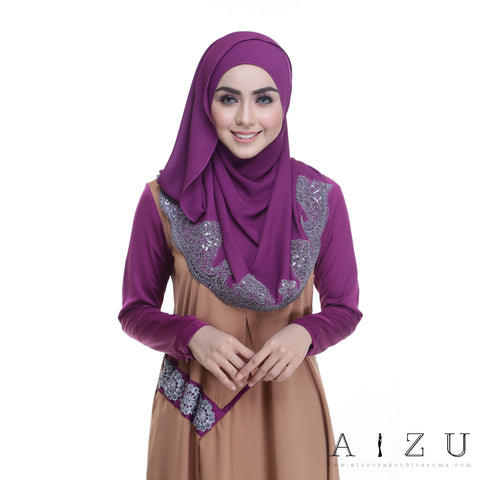 Helen Dress | HL-12 Pale Brown + Mulberry purple