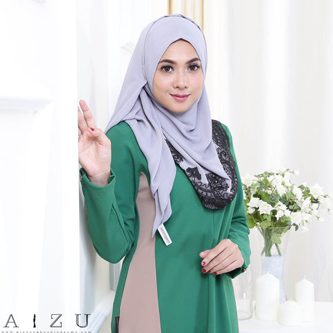 Maryam Jubah 3.0 15 | Emerald Green + Brown