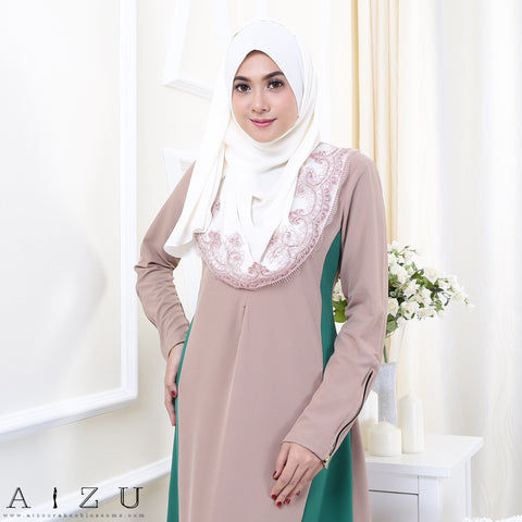Maryam Jubah 3.0 17 | Brown + Emerald Green