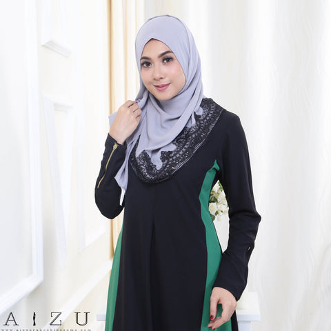Maryam Jubah 3.0 21 | Black + Emerald Green