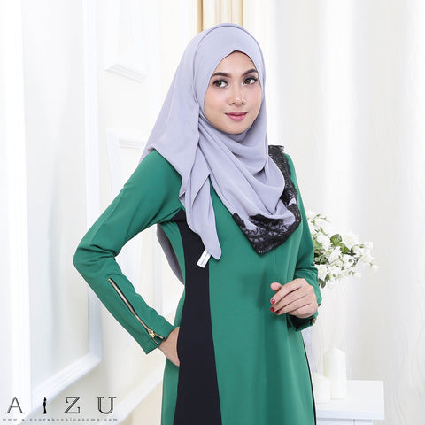 Maryam Jubah 3.0 22 | Emerald Green + Black