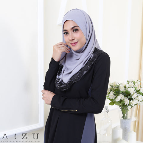Maryam Jubah 3.0 25 | Black + Grey