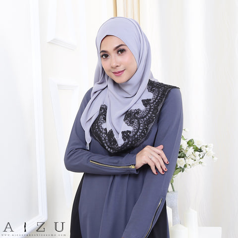 Maryam Jubah 3.0 26 | Grey + Black