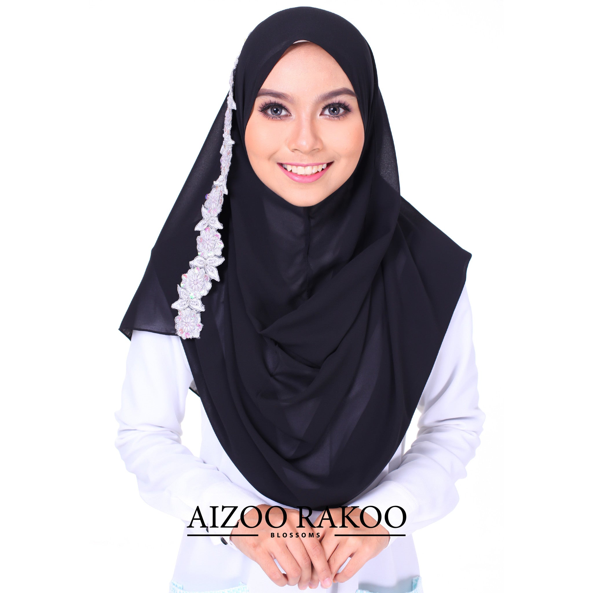 Rania Lace Instant Shawl | 11 Black (Grey Lace)
