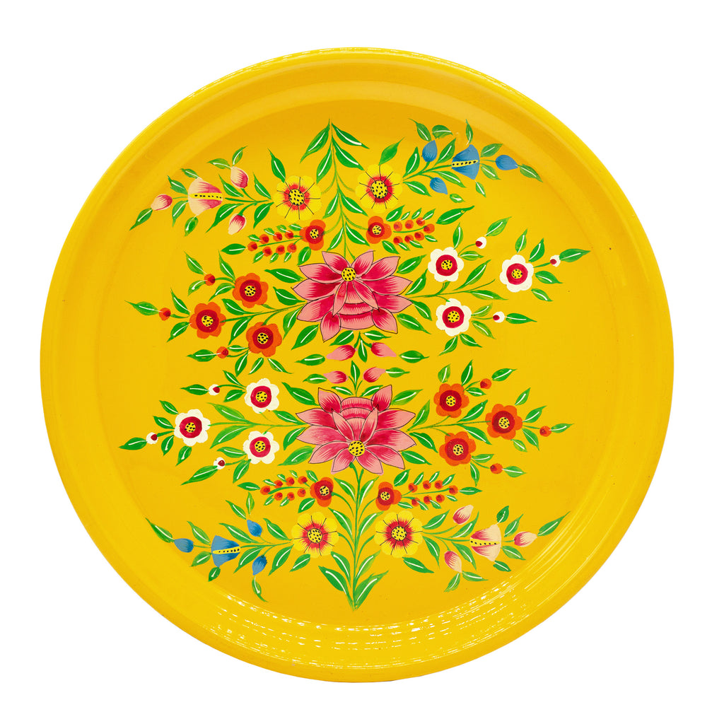 Yellow Lotus Round Tray