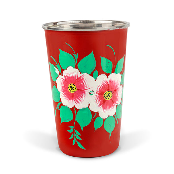Red Floral Tumbler