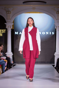 Red sleeveless Suit, White Shirt - Full length