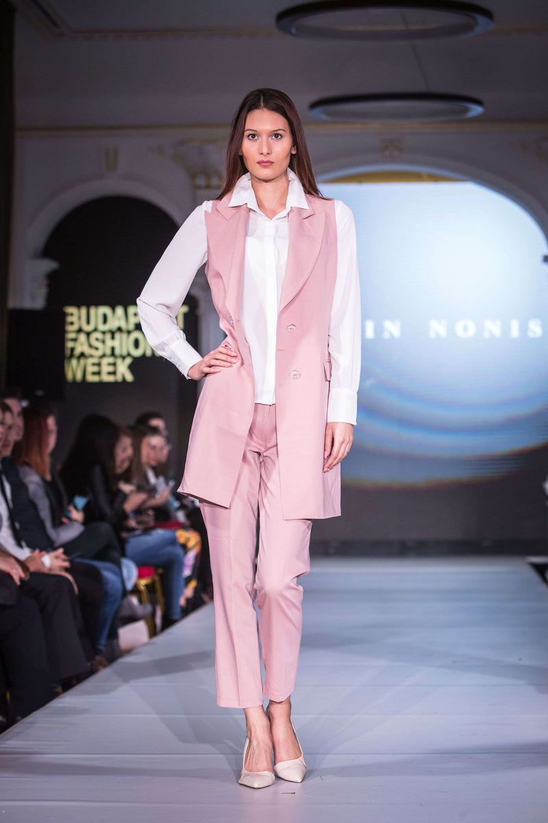 Pink Trouser Suit, White Shirt - hand on hip
