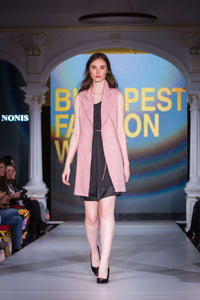 pink jacket - sleeveless, black dress - full length