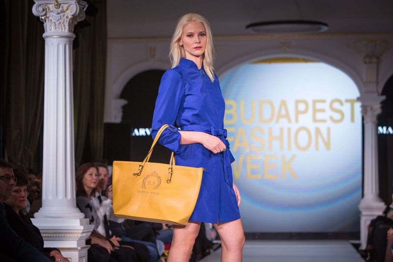 Short Sapphire Blue Dress with Belt - With Marvin Nonis Yellow Bag Side view