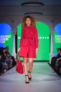 Short Chilli Red Dress - With Marvin Nonis Red Bag - walking