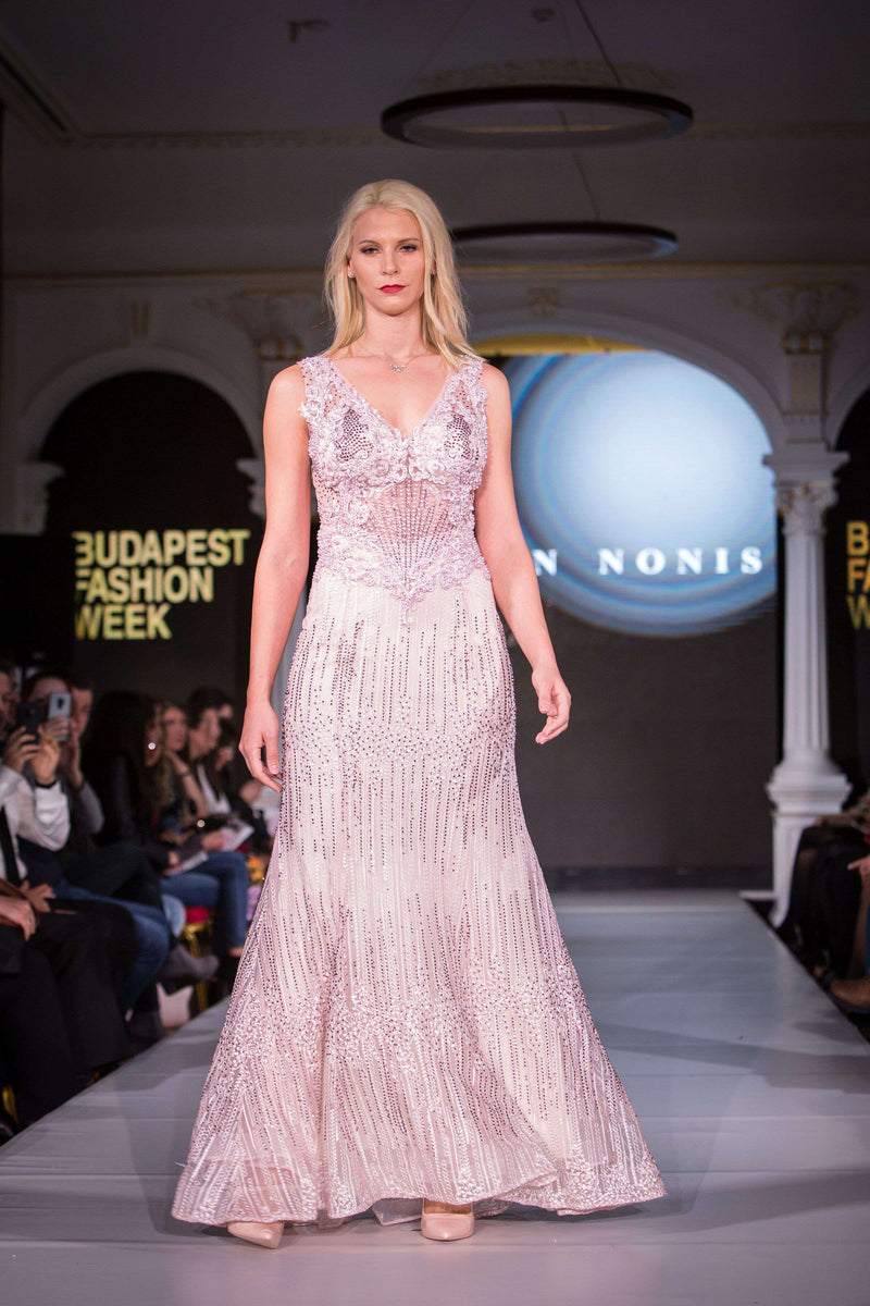 Pink Dress - full length with beading
