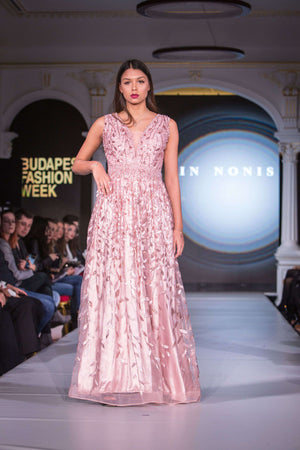 Pink Dress with Leaf Embroidery - Full length view