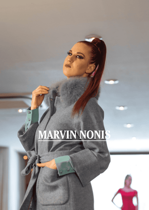Marvin Nonis Ladies Grey Fur Collar Coat