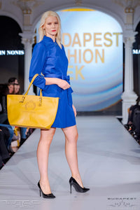Short Sapphire Blue Dress with Belt, marvin nonis yellow bag - side view