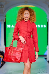 Short Chilli Red Dress - With Marvin Nonis Red Bag - Close up