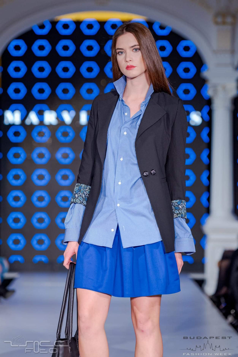 lack Jacket, Blue Shirt, Blue Skirt - posing short