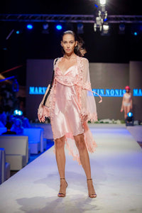 Oyster Pink Night Dress with Lace Coat