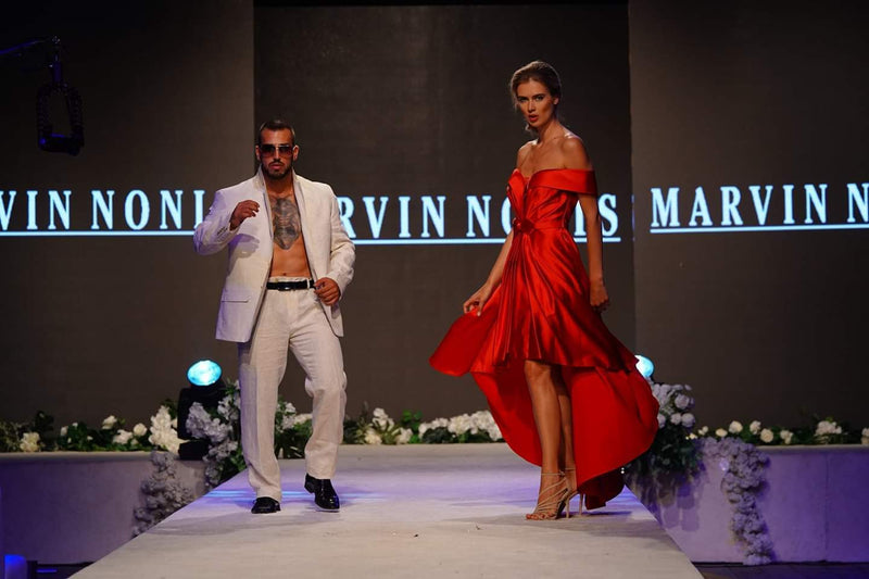 Marvin Nonis Satin Off The Shoulder Cherry Red Dress