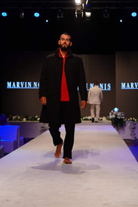 Marvin Nonis - Luxury Mens Long Black Overcoat
