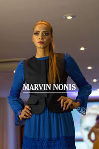 Marvin Nonis Long Blue Dress and Black Waistcoat