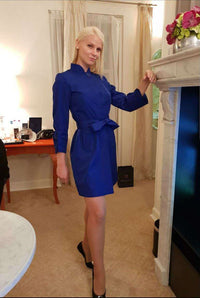 Short Sapphire Blue Dress with Belt, marvin nonis yellow bag - In Hotel Room