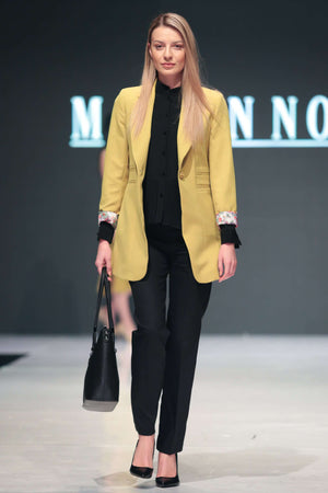 Black Blouse, Trousers and Mustard Coloured Jacket