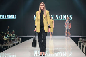 Black Blouse, Trousers and Mustard Coloured Jacket - small picture