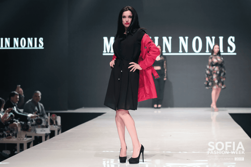 Womens Red Coat with Black Dress