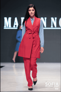 red sleeveless suit, blue shirt - full length