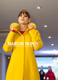 Marvin Nonis Bright Yellow Ladies Fur Collar Coat