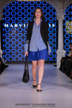 Black Jacket, Blue Shirt, Blue Skirt - Full length