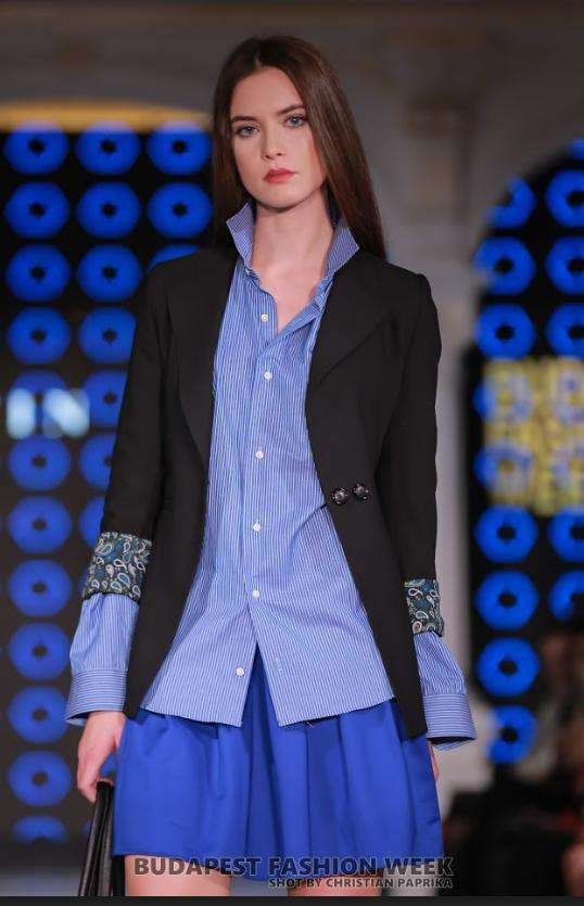 Black Jacket, Blue Shirt, Blue Skirt - Close up
