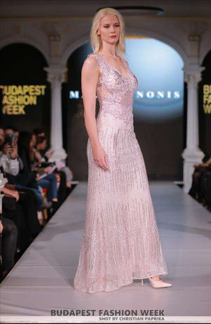 Pink Dress - full length with beading - side view