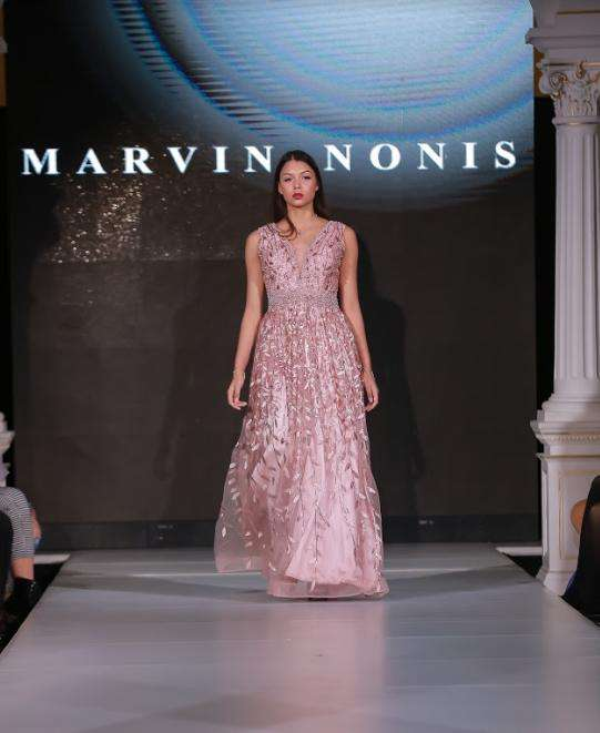 Full Length Pink Pastel Evening Dress with Pink Leaf Embroidery