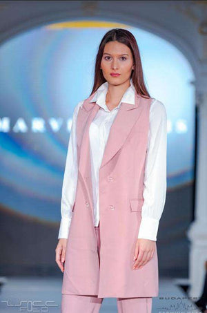 Pink Trouser Suit, White Shirt - Close up