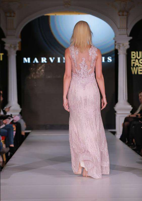 Pink Dress - full length with beading - back view