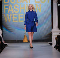 Short Sapphire Blue Dress with Belt, marvin nonis yellow bag - walking