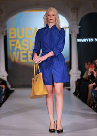 Short Sapphire Blue Dress with Belt, marvin nonis yellow bag - posing