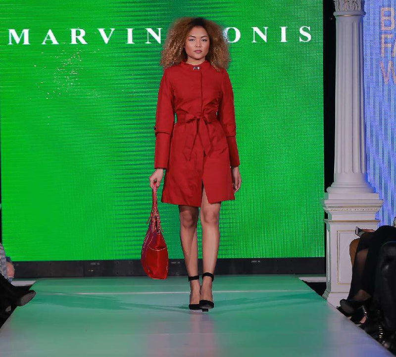 Short Chilli Red Dress - With Marvin Nonis Red Bag - back of stage