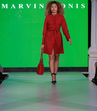 Short Chilli Red Dress - With Marvin Nonis Red Bag - back of stage 2