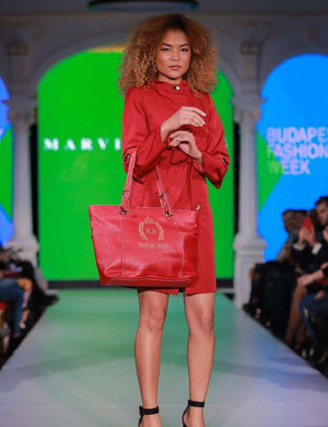 Short Chilli Red Dress - With Marvin Nonis Red Bag - Slight Side view